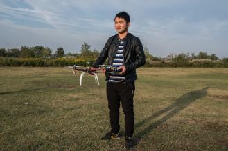 Wang Haomin, a 26-year-old student at Ewatt Aerospace's drone school in Wuhan. Credit Lam Yik Fei for The New York Times