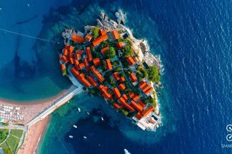 A view of a hotel along the coast of Montenegro - Makadrone Dronestagram