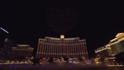 Intel shows of it drone swarm skills during a light show at the Bellagio 0000
