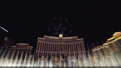 Intel shows of it drone swarm skills during a light show at the Bellagio 0008