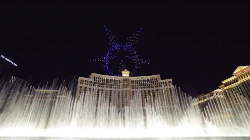 Intel shows of it drone swarm skills during a light show at the Bellagio 0014