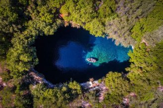 Melissanie Cave on the Greek island of Kefalonia - Calin Stan Dronestagram