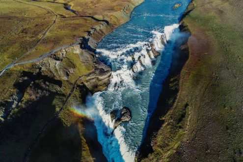 The Gulfoss Waterfall in iceland - Vaidas Dronestagram