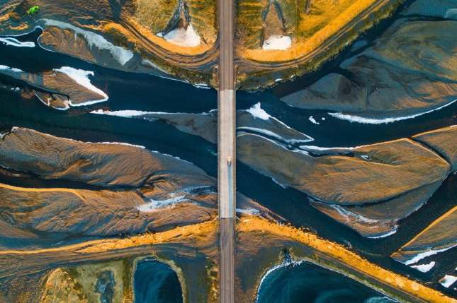 Aerial view of the Icelandic landscape in winter. This image was taken by a drone.