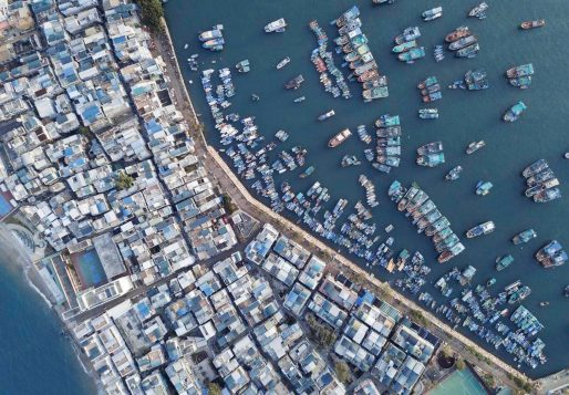 many people there are living and working in this little habour. boats and ships line up and form this interesting composition. taking this by drone is the best for it.