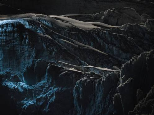Glaciers dramatically lit up at night by a drone 6