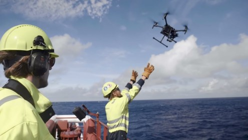 Daily drone inspections of System 001 of The Ocean CleanUp
