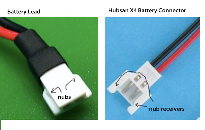 Remove the small plastic nubs from the battery connector - shown on the left above!