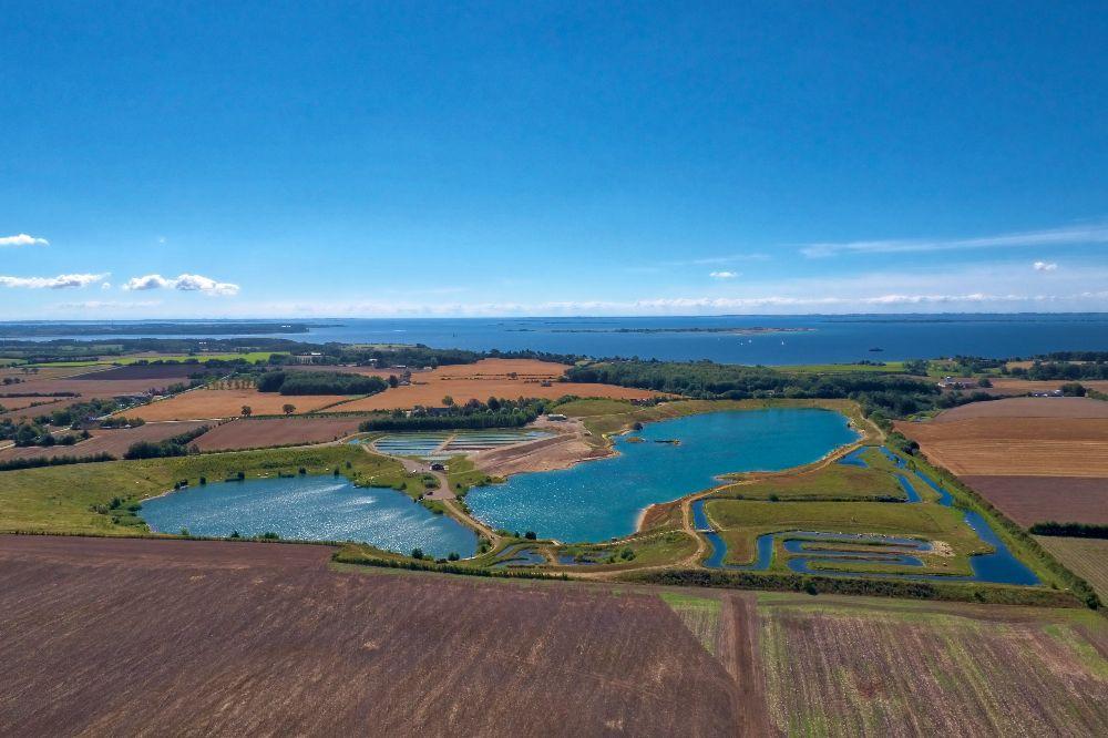Smuk put & Take sø sydfyn luftfoto