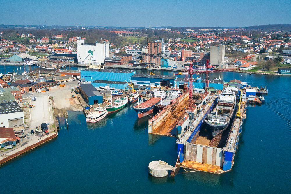 Dronefoto af Svendborg Væft
