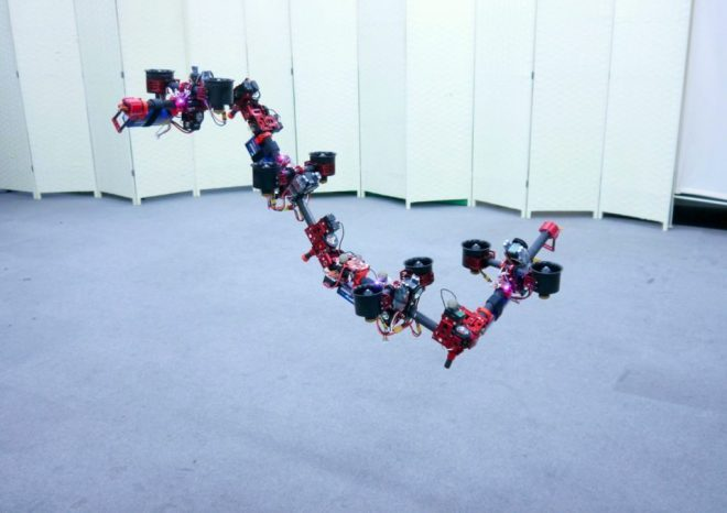 "At JSK Lab at the University of Tokyo, roboticists have developed a robot called DRAGON: ""Dual-rotor embedded multilink Robot with the Ability of multi-deGree-of-freedom aerial transformatiON."""