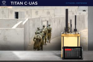 Troops using a counter drone system