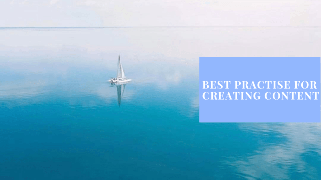 Photo from a blog post on the drone photography bible website. The post shows a catamaran boat on a still ocean with the horizon. The text says Instagram best practise for creating content