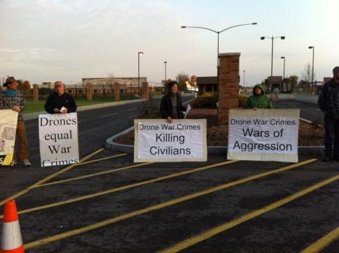 Drone protesters at Hancock