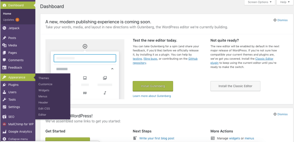 WordPress.org Admin Panel