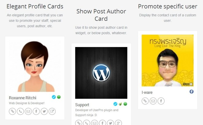 UserPro - User Profiles with Social Login profile card