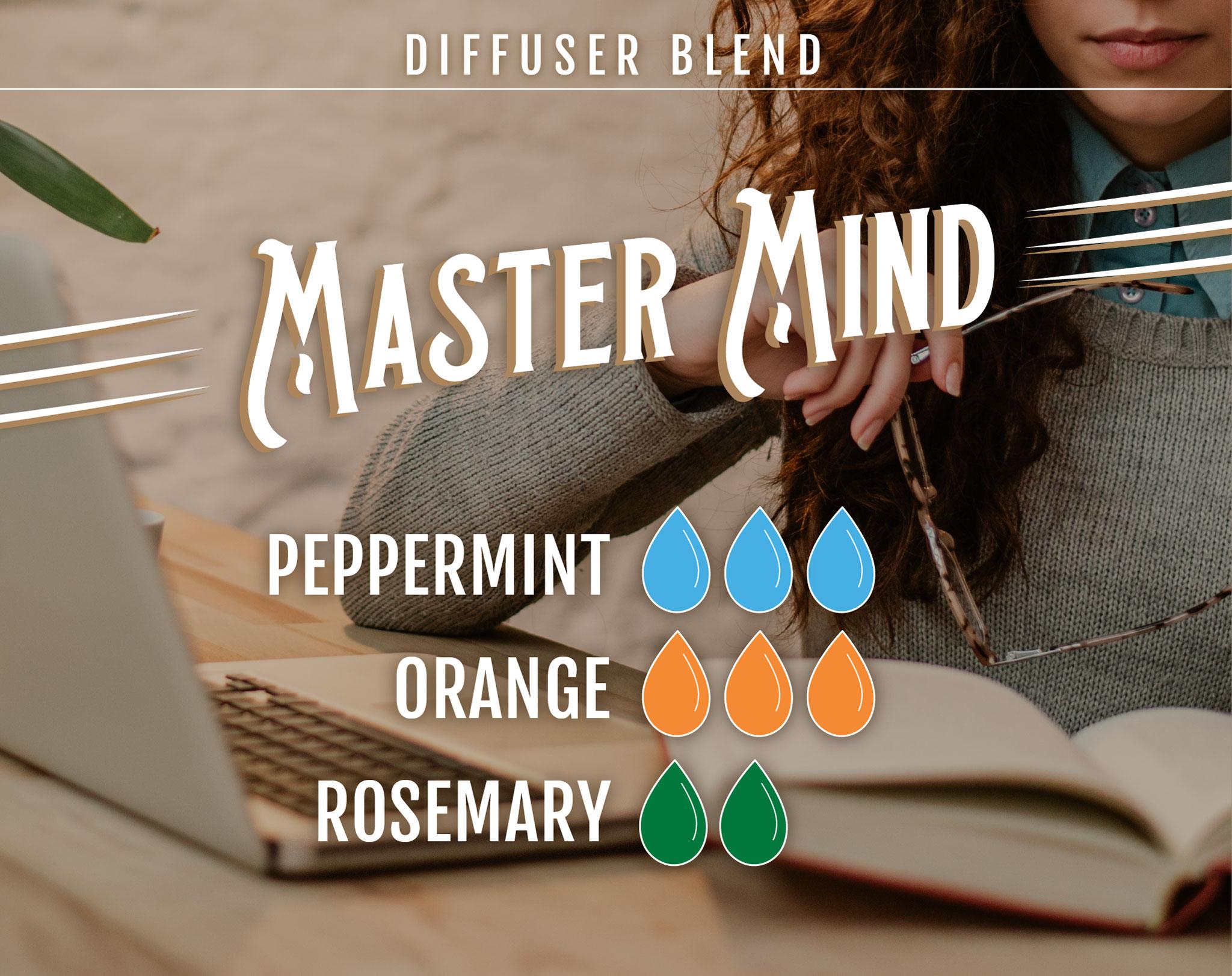 Master Mind Essential Oil (EO) Diffuser Blend: 3 drops Peppermint EO, 3 drops Orange EO, 2 drops Rosemary