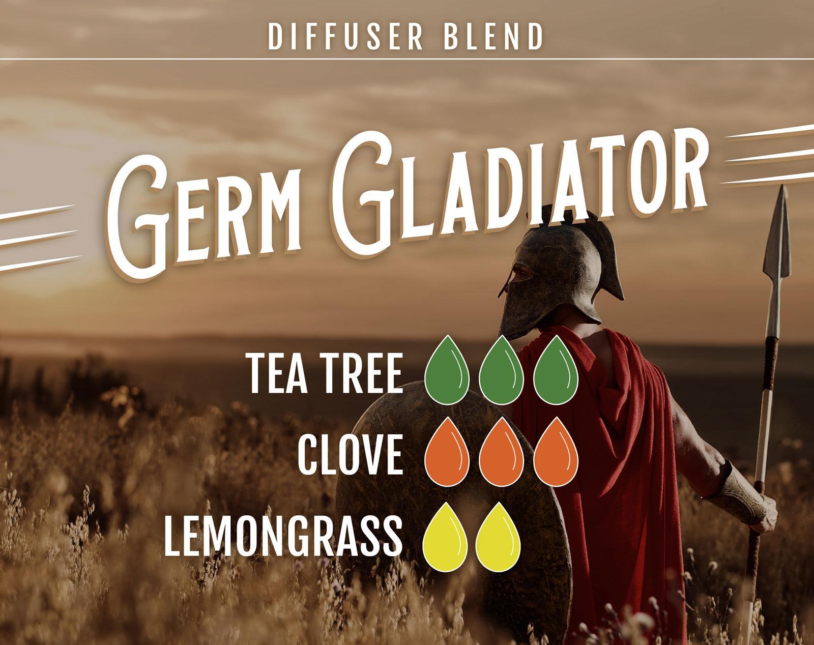 Tea Tree Essential Oil Diffuser Blend Germ Gladiator - 3 drops Tea Tree 3 drops Clove 2 drops Lemongrass
