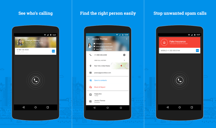 Truecaller User interface