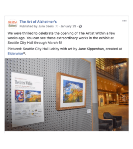 Sample Facebook post for the Art of Alzheimer's