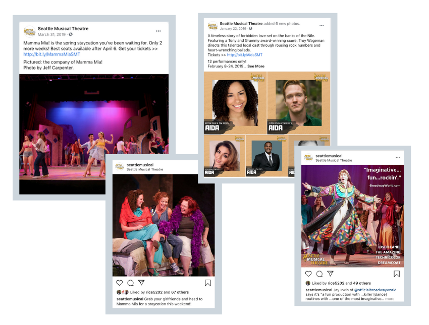 Social media posts for Seattle Musical Theatre