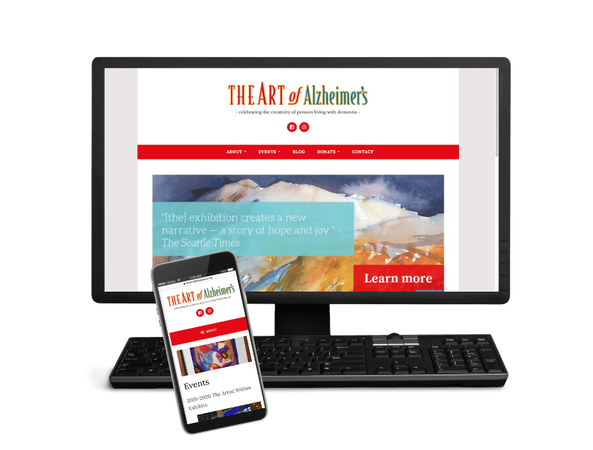 Monitor and phone displaying Art of Alzeheimer's website