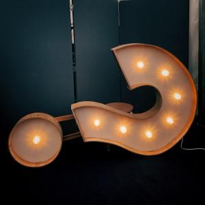 Question mark light sitting sideways