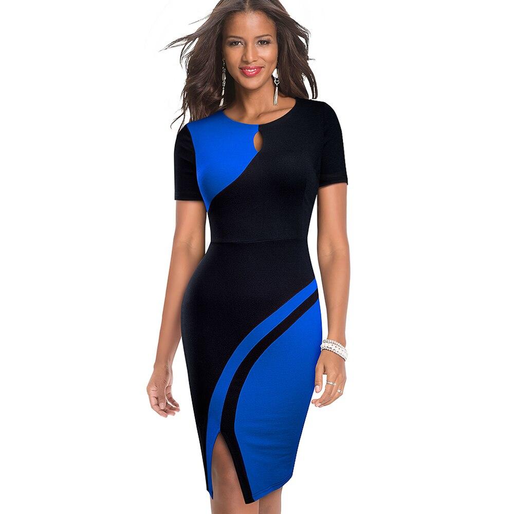 Elegant Contrast Color Bodycon Dress for Women