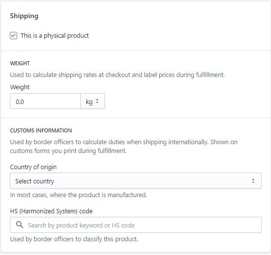 Shopify shipping settings