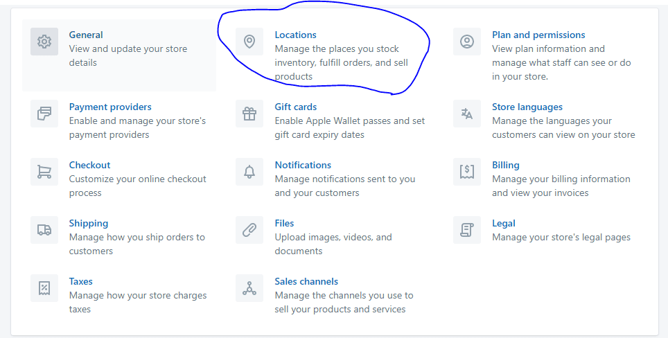 shopify location setting