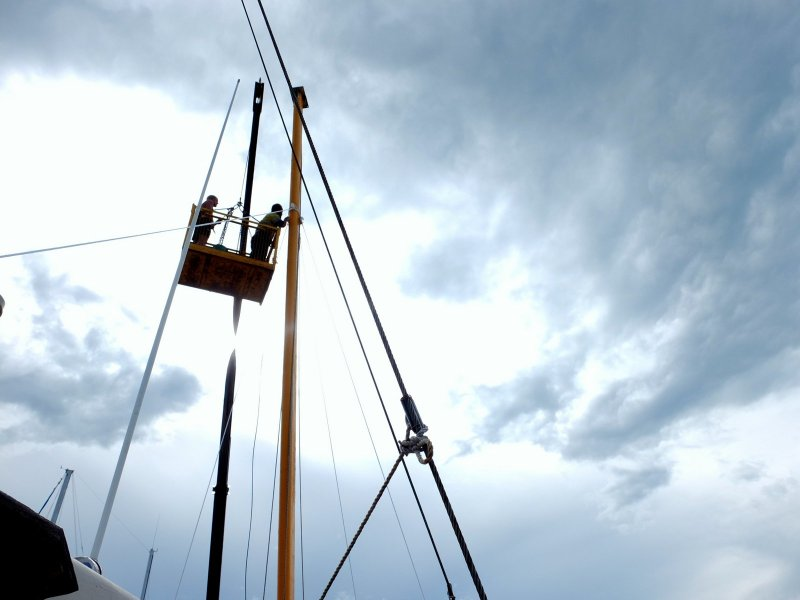 Mast repairs in the boat yard, Darwin