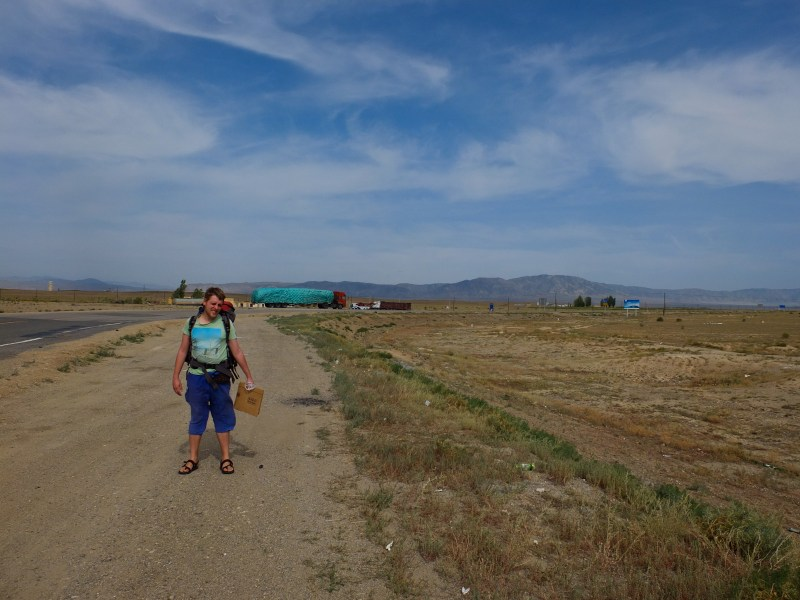 Hitch-hiking towards the Mongolian border, Xinjiang, China.