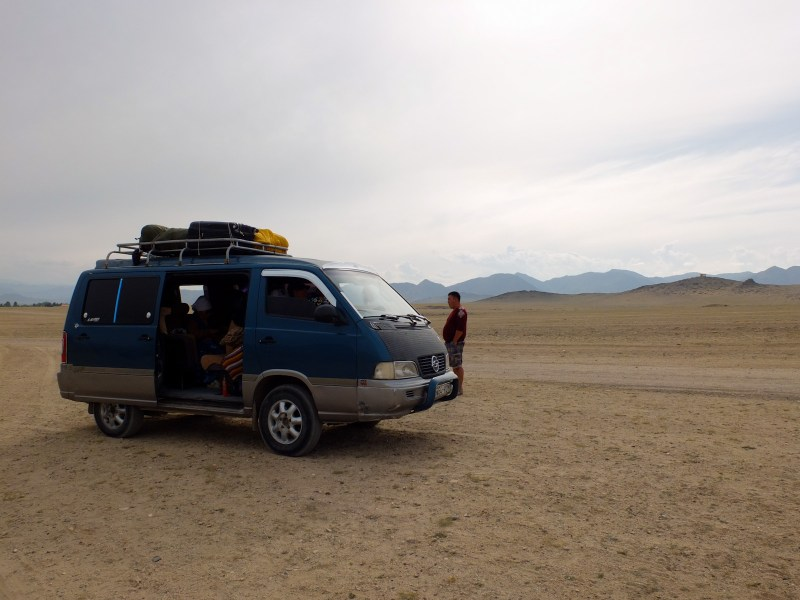 Our minivan, when it broke down just a few hundreds metres from Khovd