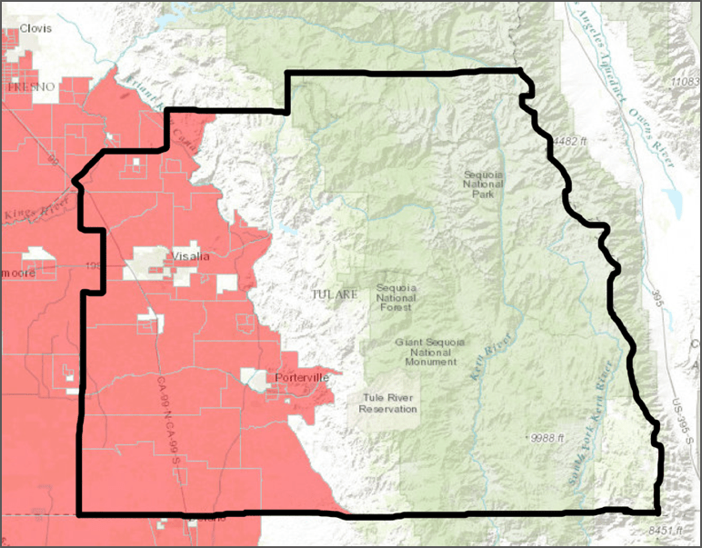 "Red shaded areas are scored as ""DACs"", unshaded areas are not. Most of Tulare County's population lives in the western third of the county, from the plains to the foot of the hills. Most of the populated areas are DACs in accordance with CalEnviroscreen 2.0."