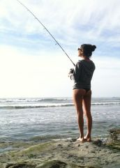 Girl shore fishing