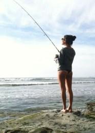 Girl shore fishing