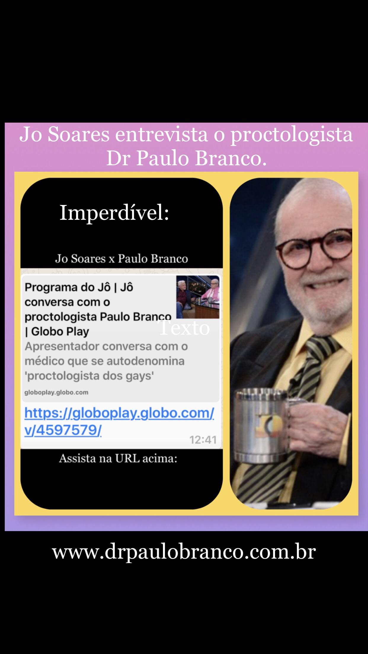 Jo Soares entrevista o proctologista online sobre o tratamento das doenças proctologicas tratadas com laser.
