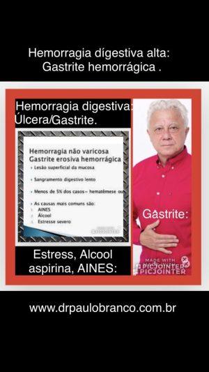 Sangramento por gastrite e úlcera duodenal.