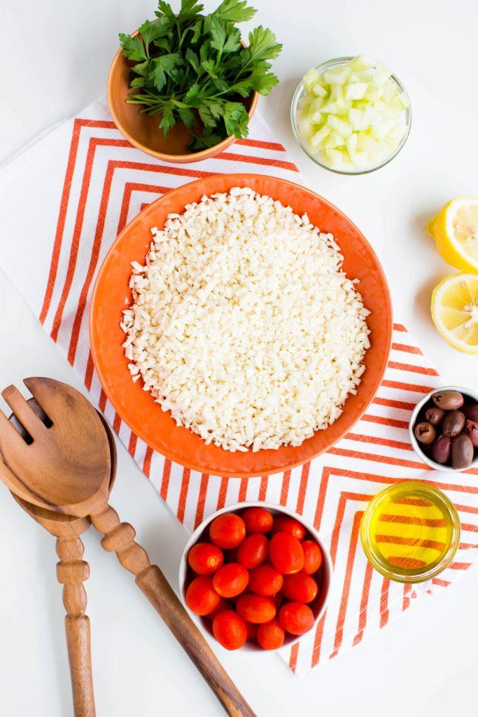 Cauliflower tabbouleh ingredients - Dr. Pingel