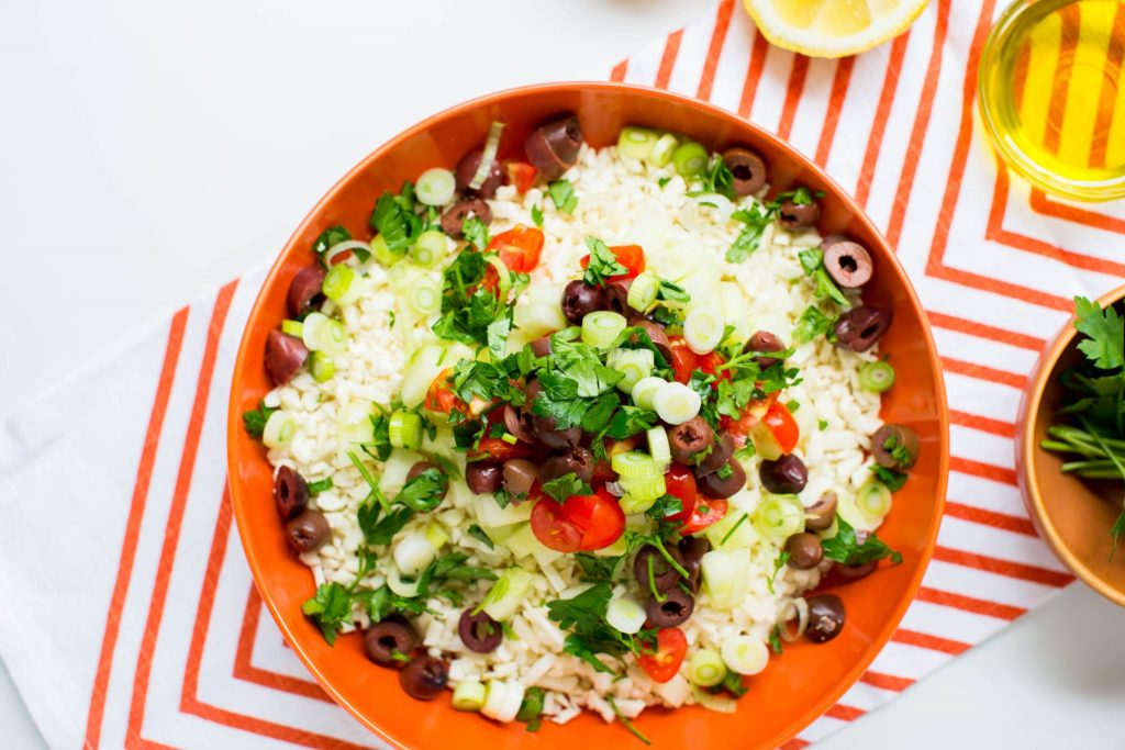 Cauliflower tabbouleh with green onions - Dr. Pingel