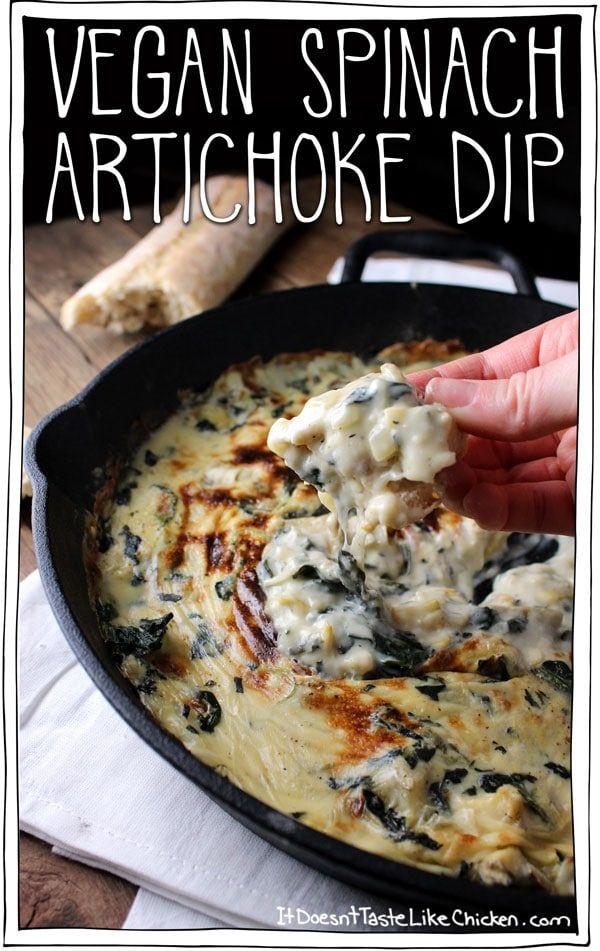 Vegetarian recipes: vegan spinach artichoke dip