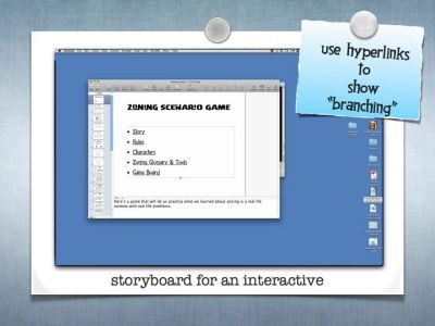 Hyperlinks for interactive storyboard