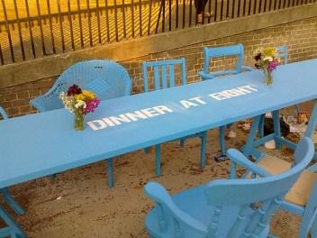 Blue dinner table