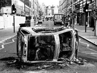 London burnt car