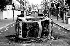 Burned out car, London