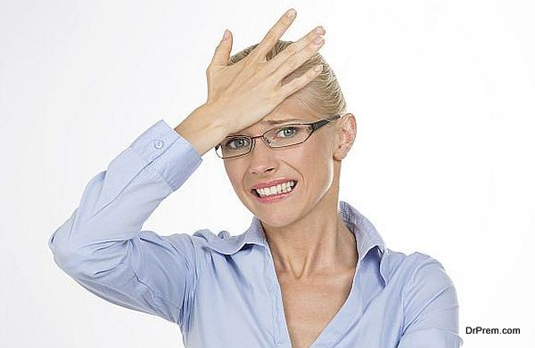 blonde woman worried about something