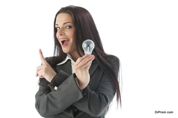young woman and a light bulb