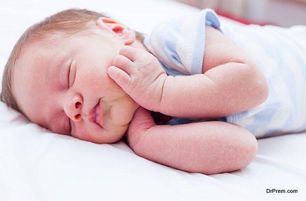 Newborn baby peacefully sleeping