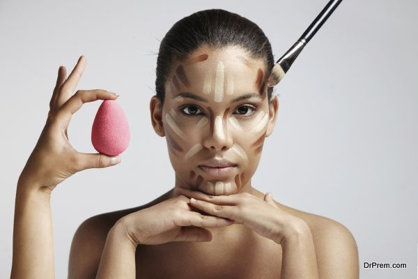 Highlighting and shading area showing to contour corrective face shape. facial contouring