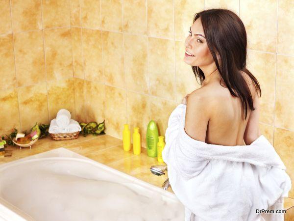 Woman take bubble  bath